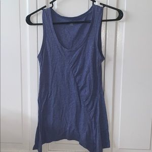 GAP XS blue tank top with scrunch detail on side